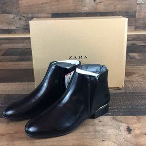 Zara Ankle Boots with Gold Trim